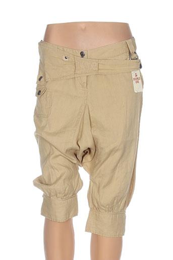 double jeu pantalons femme de couleur beige