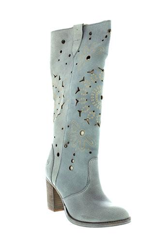 felmini bottes femme de couleur bleu