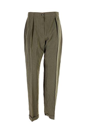 dino valiano pantalons femme de couleur vert