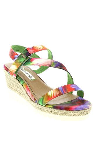 tamaris sandales et nu et pieds femme de couleur vert