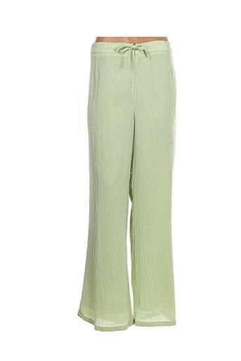 claude bauer pantalons femme de couleur vert