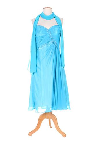 Robe mi-longue bleu ELLEBELINE pour femme