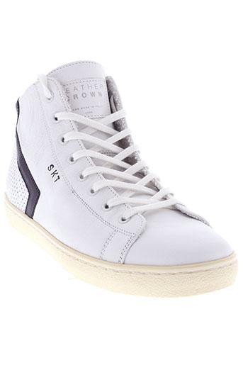 leather crown chaussures homme de couleur blanc