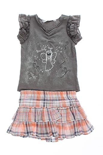 3 et pommes t et shirt et jupe fille de couleur gris (photo)