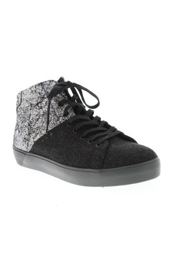 leather crown chaussures femme de couleur noir