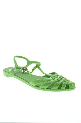 melissa sandales et nu et pieds femme de couleur vert