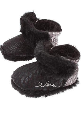 ikks chaussons fille de couleur noir