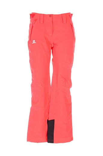 salomon pantalons femme de couleur rouge