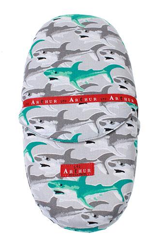 arthur pantoufle unisexe de couleur gris