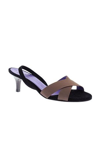 parallele sandales et nu et pieds femme de couleur marron