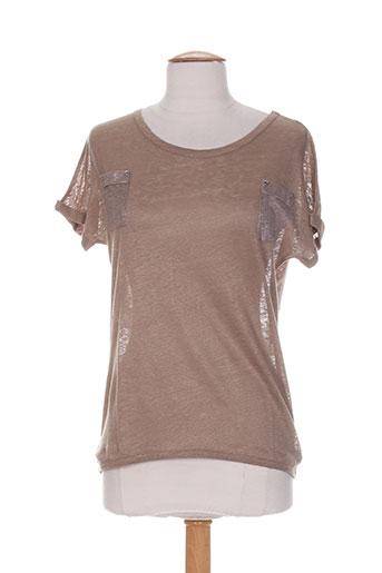 blanc boheme t-shirts femme de couleur marron