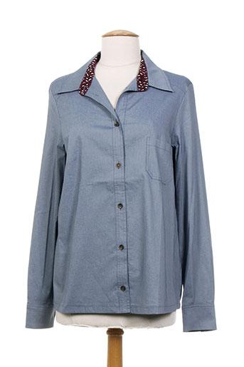 coleen bow chemises femme de couleur bleu
