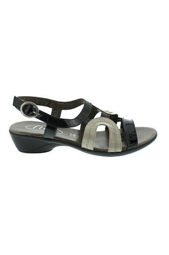 semelflex sandales et nu et pieds femme de couleur noir