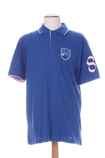 Polo manches courtes bleu QUADRO pour homme