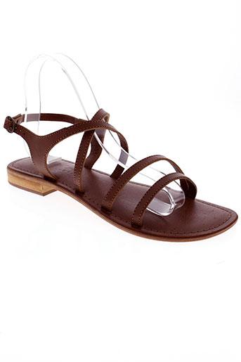 vachon sandales et nu et pieds femme de couleur marron