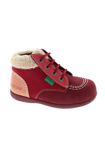 kickers bottillons fille de couleur rouge