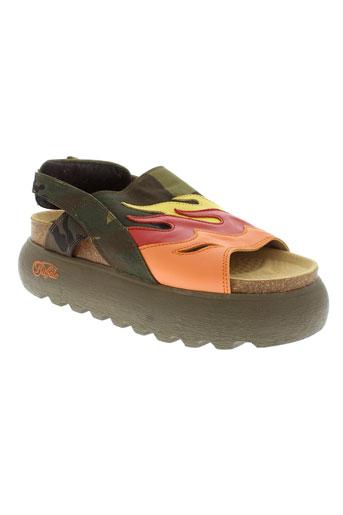 buffalo sandales et nu et pieds femme de couleur vert