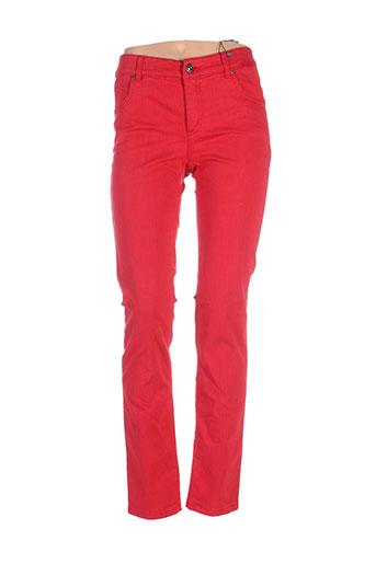 oui pantalons et decontractes femme de couleur rouge