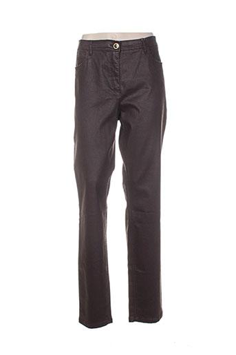 sbelt jeans pantalons femme de couleur marron