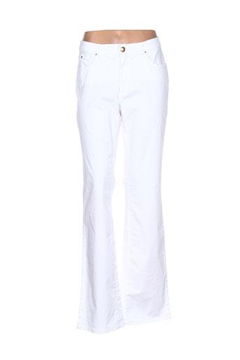 trussardi jeans pantalons femme de couleur blanc