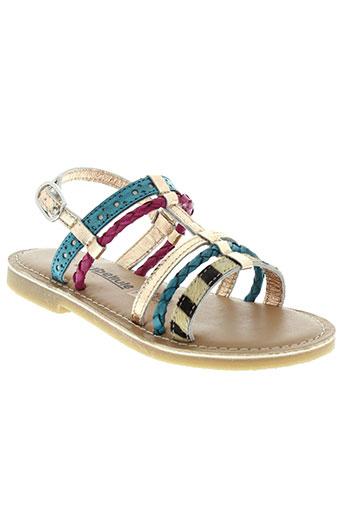 lilybellule sandales et nu et pieds fille de couleur bleu