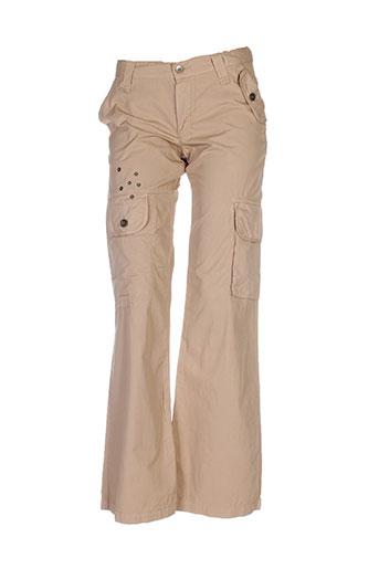 ikks pantalons femme de couleur beige
