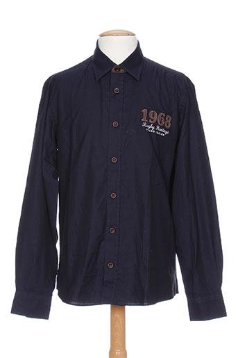 grand chelem chemises homme de couleur bleu
