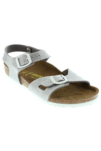 birkenstock sandales et nu et pieds fille de couleur gris