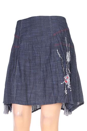 double jeu jupes femme de couleur bleu