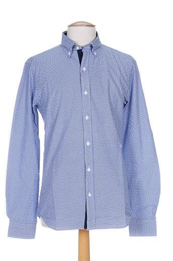 slam chemises homme de couleur bleu