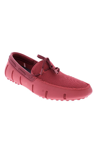 swims mocassins homme de couleur rouge