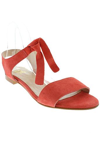 he et spring sandales et nu et pieds femme de couleur orange