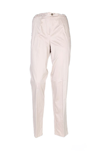 lorenzo ferreri pantalons femme de couleur beige