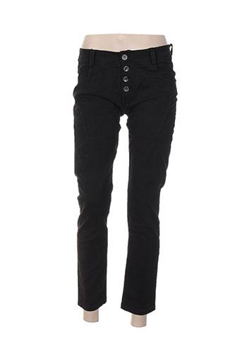 pako litto pantalons femme de couleur noir
