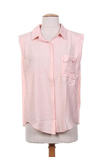 ryujee chemises femme de couleur rose