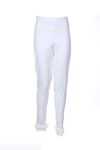 aurea vita pantalons femme de couleur blanc