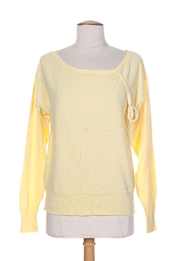 Pull col rond jaune DIABLESS pour femme