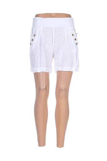 puro lino shorts / bermudas femme de couleur blanc