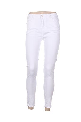 nina carter pantalons femme de couleur blanc