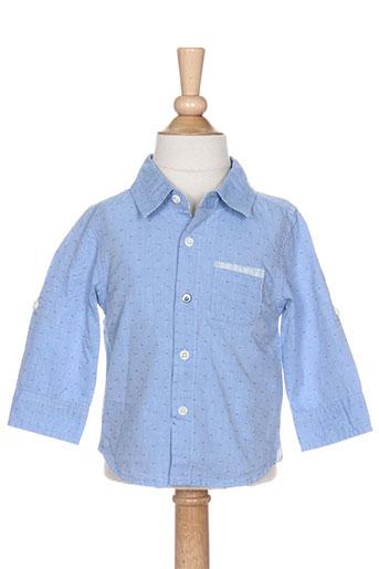 3 pommes chemises garçon de couleur bleu
