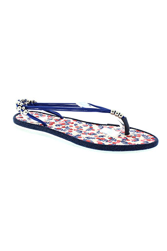 string tong chaussures femme de couleur bleu