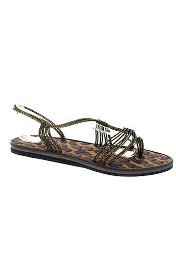 string tong chaussures femme de couleur marron