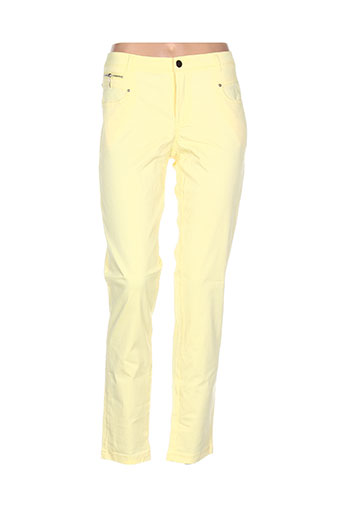 luizacco pantalons femme de couleur jaune