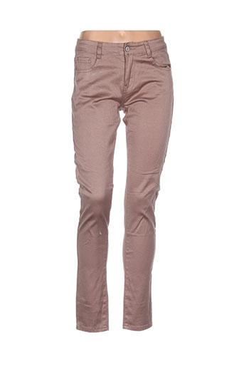 cindy.h pantalons femme de couleur marron