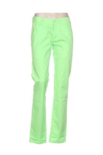 leeyo jeans pantalons femme de couleur vert