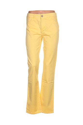 fred sabatier pantalons femme de couleur jaune