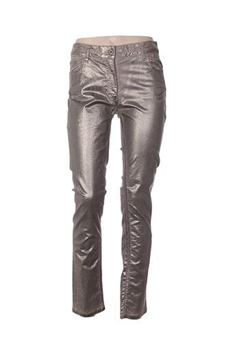 lauren vidal pantalons femme de couleur beige