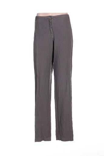 120% lino pantalons femme de couleur gris