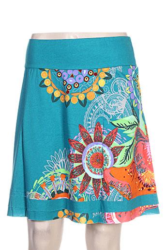 coton du monde jupes femme de couleur bleu