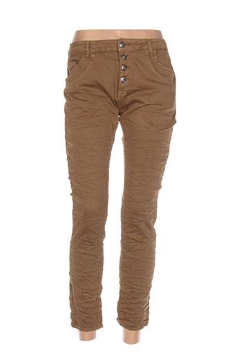 place du jour pantalons femme de couleur marron